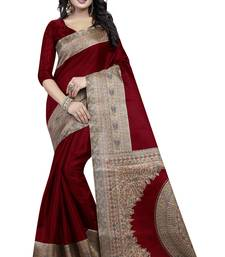 Buy Maroon printed art silk saree with blouse art-silk-saree online