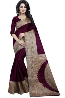 8a6fbf1b2d4bc Wine printed art silk saree with blouse