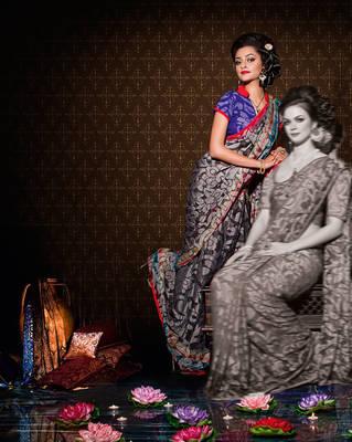 Lovely Gray Khadi brocade sari