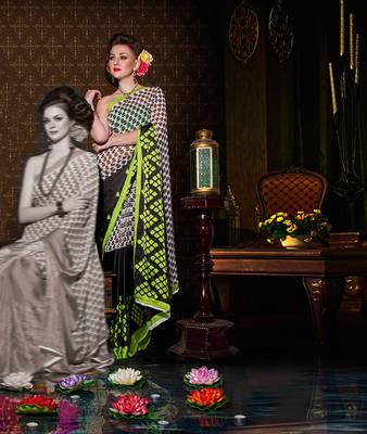 Half satin half georgette sari