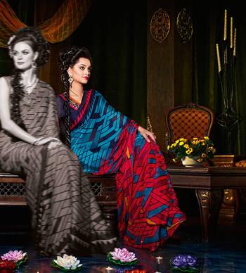 Dyna Satin Chiffon Sari