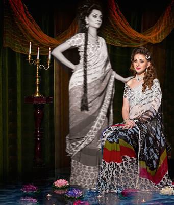 Indian Printed Faux Georgette Sari
