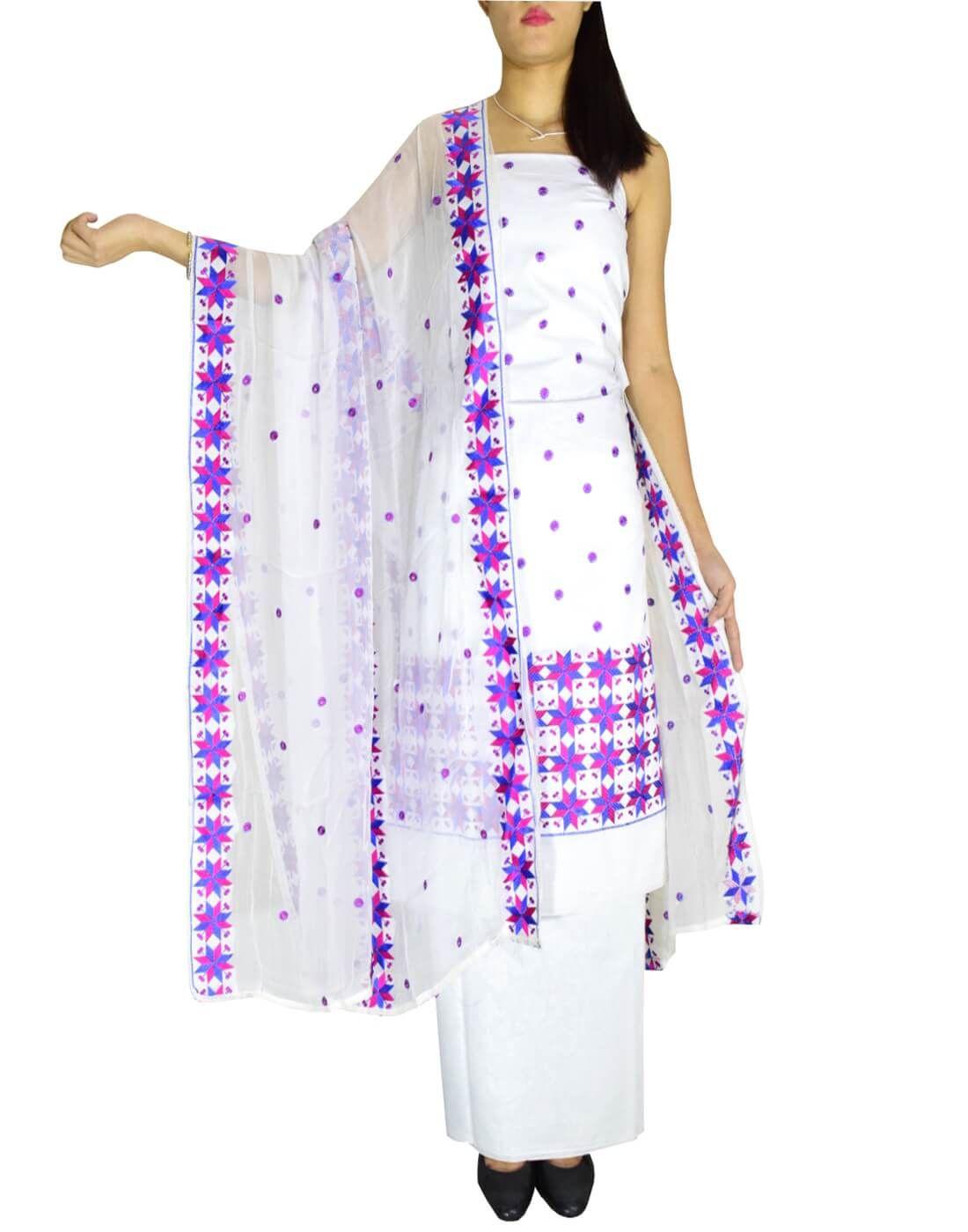 Buy Giftpiper Unstitched Phulkari Suit Piece Cotton Silk White Kemeja Lavender Contrast Multicolor Shop At Velvet Blue Online
