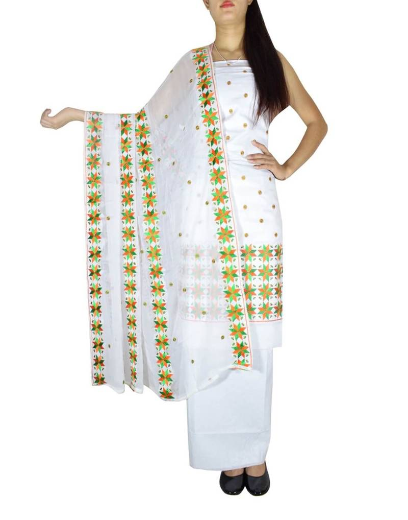 b584b17983c GiftPiper Unstitched Phulkari Suit Piece Cotton Silk-White   Green1 ...