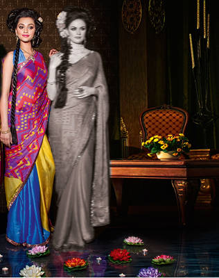 Indian Printed Satin Chiffon Sari