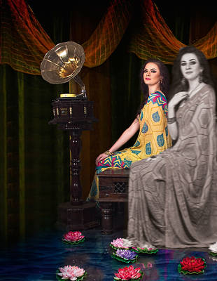 Beautiful Indian Printed Checks Sari