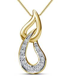 Superb Fancy Pendant 14K Gold Plated 925 Sterling Silver White Round Cut CZ With Chain