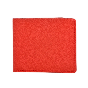 """Alphaman """"Cool Red Tan Desire Inside"""" Organic Leather Dual Fold Border-Stitched Wallet"""