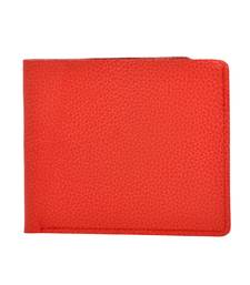 "Alphaman ""COOL RED TAN DESIRE INSIDE"" Organic Leather Dual Fold Border-Stitched Wallet"