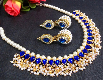 Blue Kundan Pearl Necklace Set
