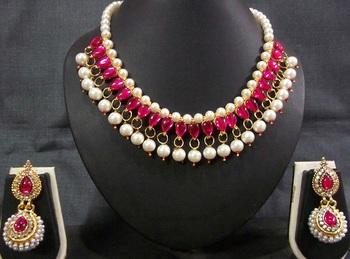 Dark Pink Kundan Pearl Necklace Set
