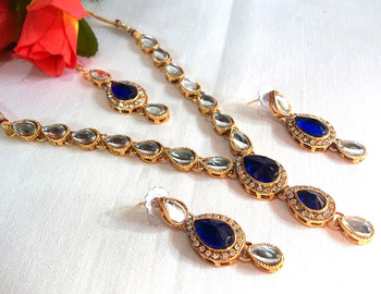Blue Tika Kundan Necklace Set