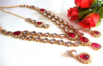 Dark Pink Double line kundan necklace set