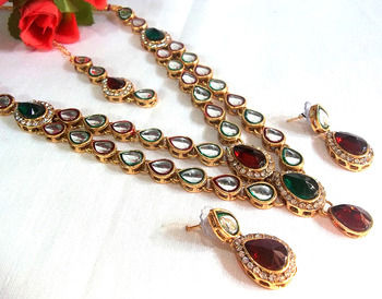 Maroon Green Double line kundan necklace set