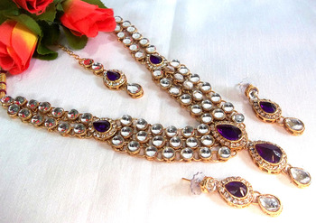 Purple dulhan Kundan Necklace set