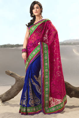 Red and Blue Pure Banarasi Sari
