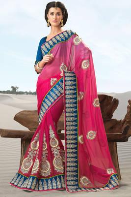 Pink Embroidered Silk Sari