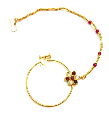 India bridal wear, beaded AD studded bridal nose ring