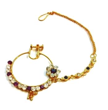 India bridal wear, beaded CZ Studded Purple bridal nose ring