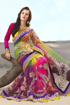 Embroidered Multi Color Net Sari