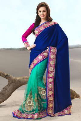 Multi Colored Net and Velvet Sari