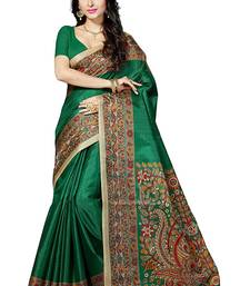 Buy Green printed khadi saree with blouse cotton-saree online