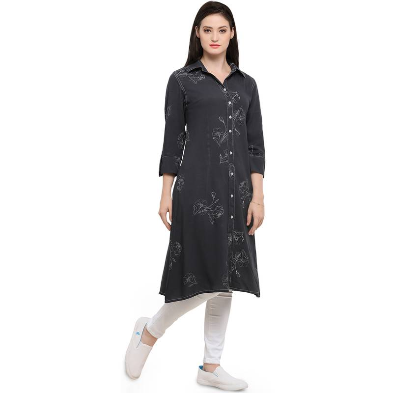 Buy Gray Cotton Printed Cotton Long Tops Online