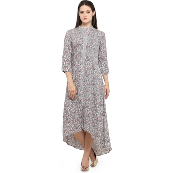 Buy White Cotton Printed Cotton Long Tops Online