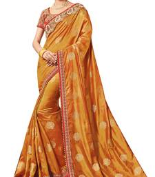 Buy Mustard embroidered silk saree with blouse bollywood-saree online