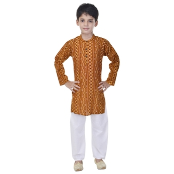 Yellow printed cotton Kurta Pyjama For Boys