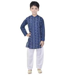 Blue printed cotton Kurta Pyjama For Boys