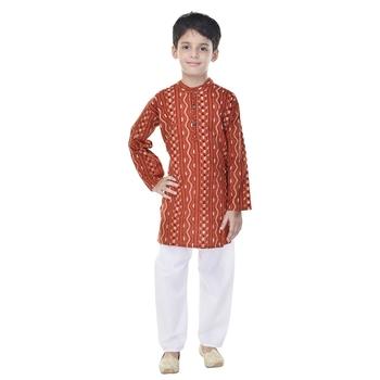 Orange printed cotton Kurta Pyjama For Boys