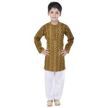 Green printed cotton Kurta Pyjama For Boys