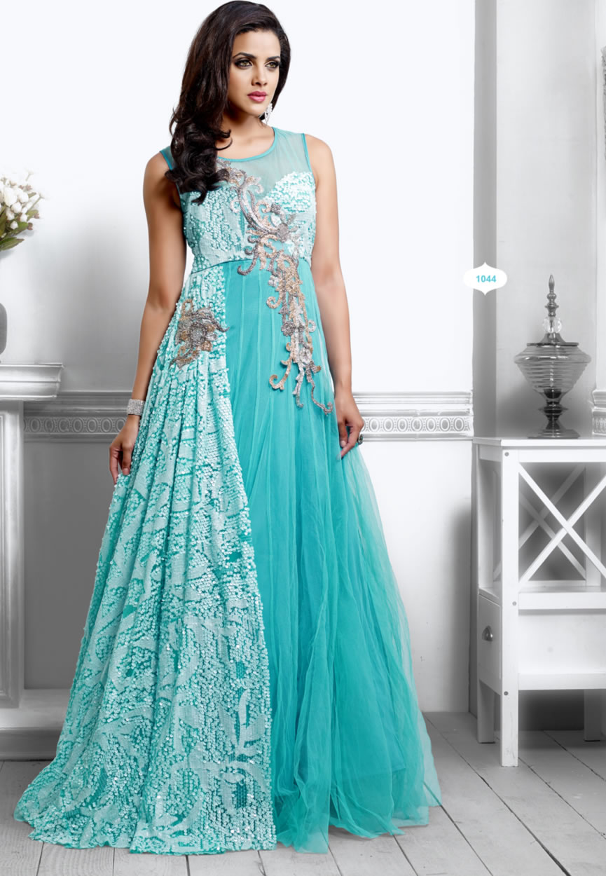 Buy Unique Sky Blue Color Designer Long Gown Type Anarkali Suit Online