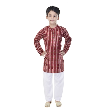 Maroon printed cotton Kurta Pyjama For Boys