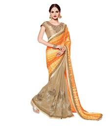 Buy Gold embroidered silk saree with blouse bridal-saree online
