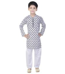 White printed cotton Kurta Pyjama For Boys