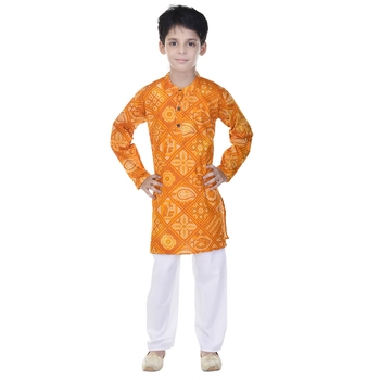 Yellow printed cotton Kurta Pyjama For Boys