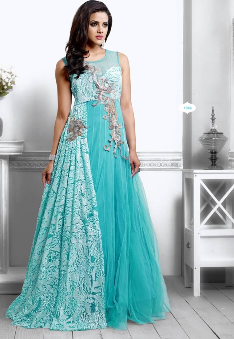 900fe039b61 Unique Sky Blue Color Designer Long Gown Type Anarkali Suit - Kumud ...