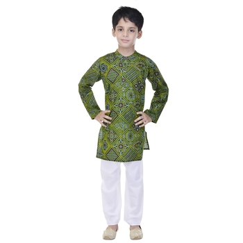 Green printed cotton Kurta Pyjama For Boys