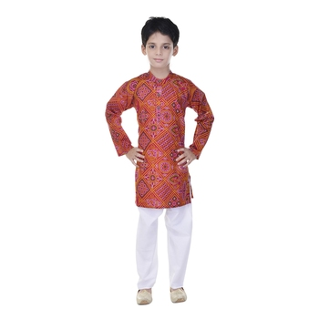 Red printed cotton Kurta Pyjama For Boys