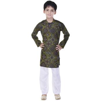 Black printed cotton Kurta Pyjama For Boys