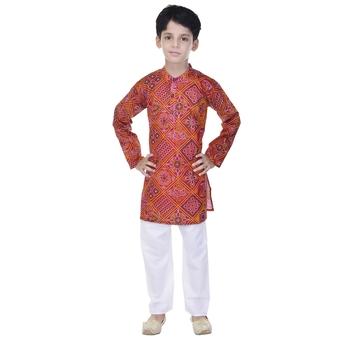 Pink printed cotton Kurta Pyjama For Boys