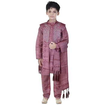 Maroon sequins cotton silk Sherwani and Churidar Set For Boys