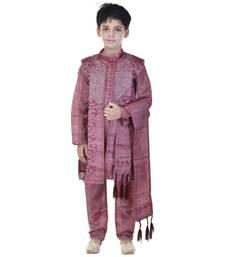 Maroon sequins cotton silk Sherwani and Churidar Set For Boys