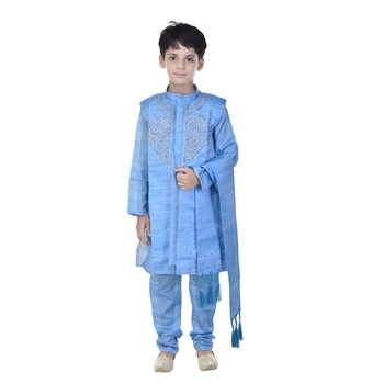 Blue sequins cotton silk Sherwani and Churidar Set For Boys