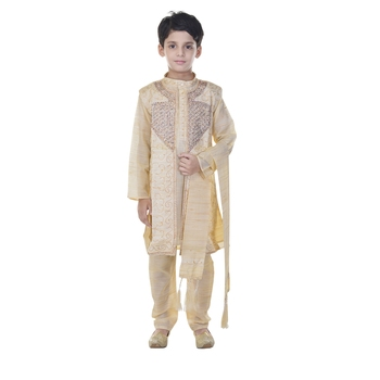 Beige sequins cotton silk Sherwani and Churidar Set For Boys