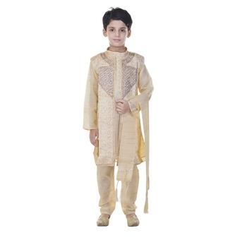 Beige sequins cotton silk Sherwani and Churidar Set For Boys