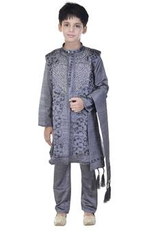 78a0435ed Progress 4cc28d84d76fcb9210fe43f7ac15eb975cd0845b972ae4a79b1d0ad72de0bd8e.  Grey sequins cotton silk Sherwani and Churidar Set For Boys