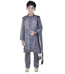 Grey sequins cotton silk Sherwani and Churidar Set For Boys